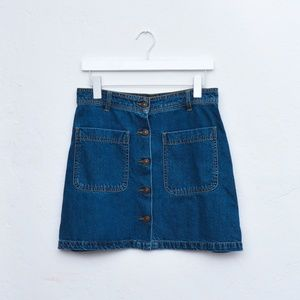 Zara Denim High Waist Button Mini Skirt